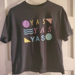"80s inspired Screen tee. ""YAS!"""